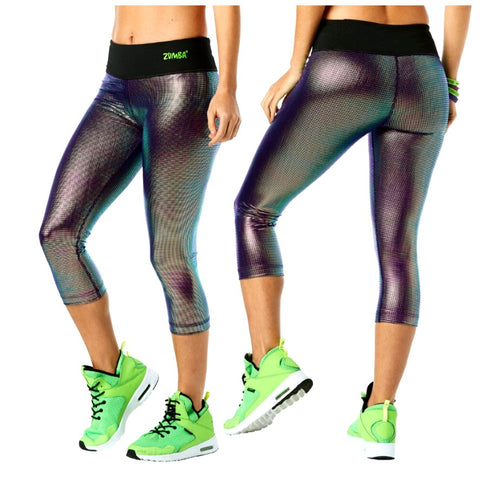 Light Up the Dance Floor Metallic Capri Leggings (AUS)