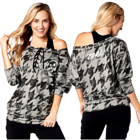Rockin Zumba Lace Up Pullover (size S & M)