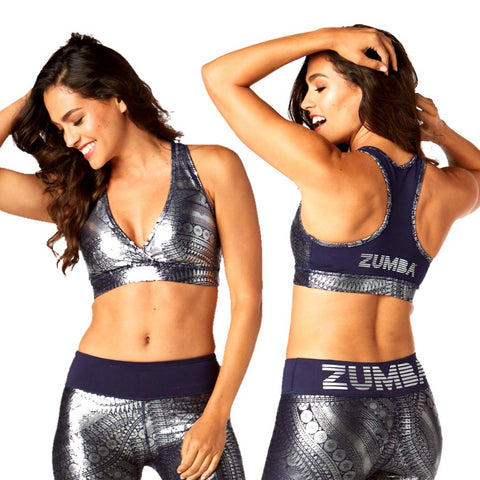 Zumba All Night Metallic V Bra (sizes XS, S, L, XL)