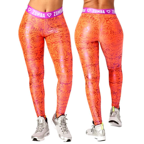 Zumba Has My Heart Metallic Leggings (size M)
