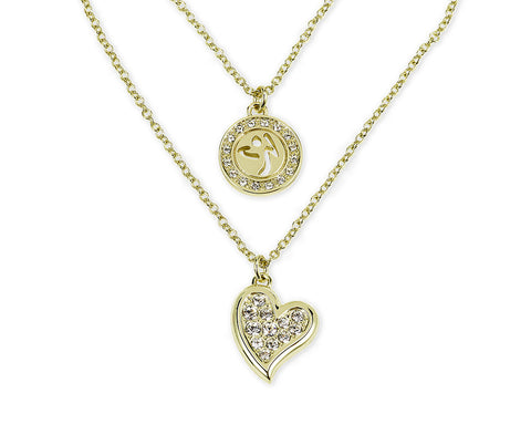 Zumba Love Double Layer Necklace Embellished With Crystals From Swarovski - Gold