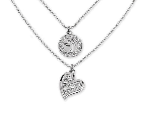 Zumba Love Double Layer Necklace Embellished With Crystals From Swarovski - Silver