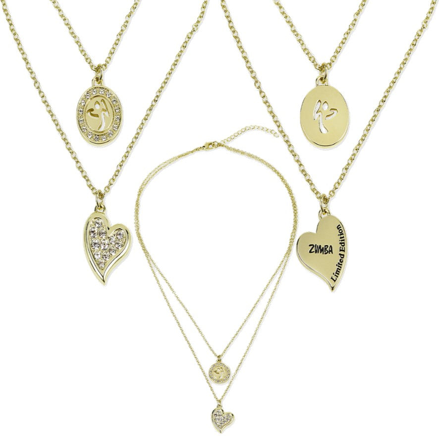 8f0feb9ec2d Zumba Love Double Layer Necklace Embellished With Crystals From Swarovski -  Gold
