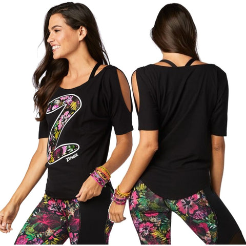 Zumba Party Cold Shoulder Top (sizes XS, S & M)