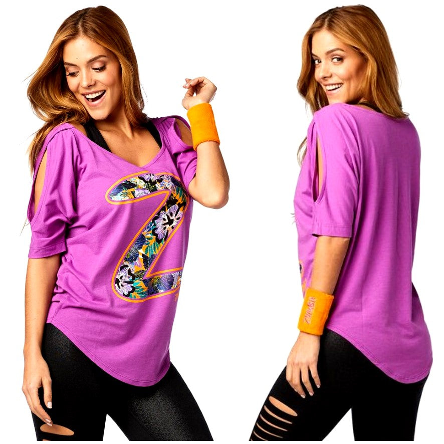 Zumba Party Cold Shoulder Top (sizes XS & S)
