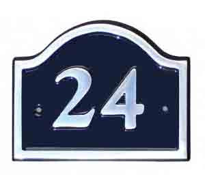 An aluminium house number sign with a black background