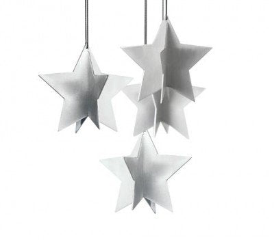 Christmas Star Decorations 4 pieces in Stainless Steel