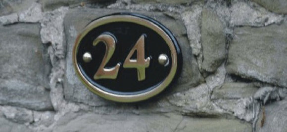 Cast Brass Oval House Number Sign