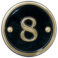 cast brass house number round