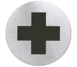 First aid sign which is adhesive
