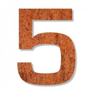 Corten steel number 5 with rust like appearance for a house, flat or apartment