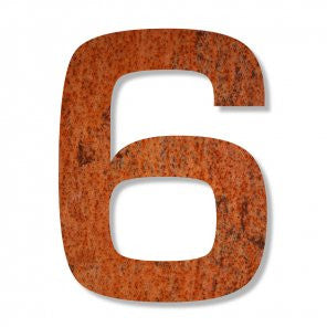 Corten steel number 6 with rusted weatherproof steel for a house, flat or apartment