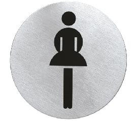ladies toilet sign which is circular and in stainless steel