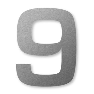 Extra large house number 9 in stainless steel