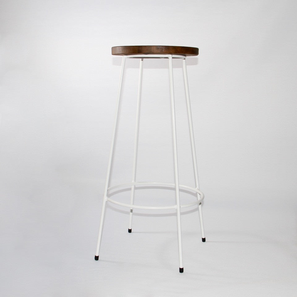 Industrial bar stool by jos Van Hulsen white finish