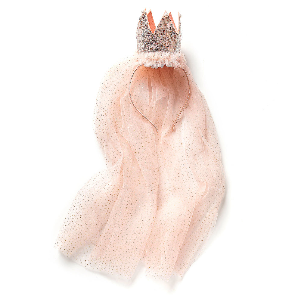 Sequin Crown with Veil/Aliceband ( Pink)