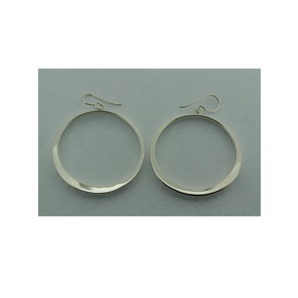Tapering Circle Silver Hoops