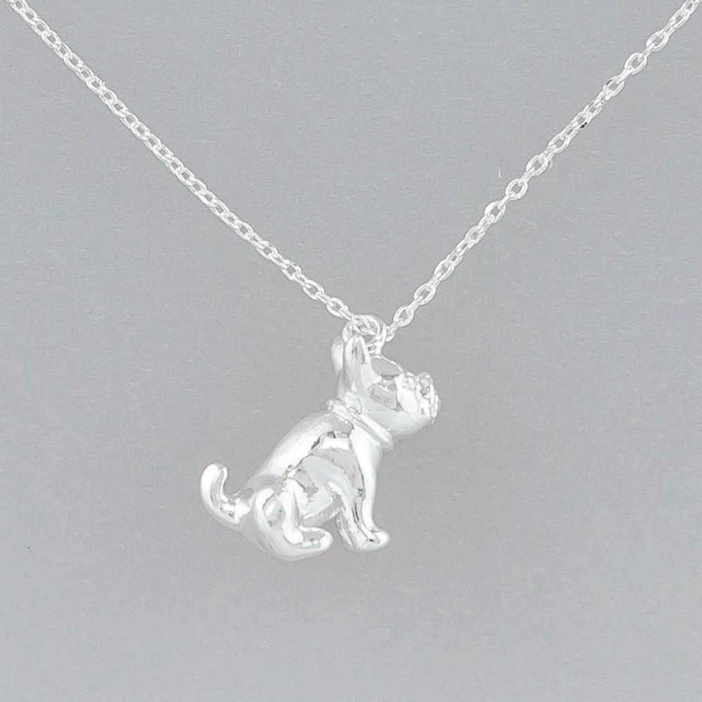 Silver Frenchie Necklace
