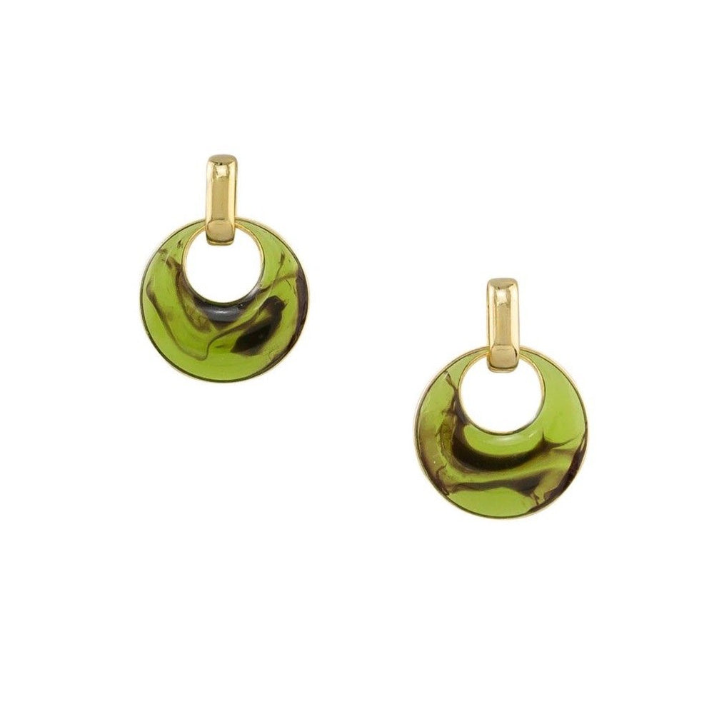 Green swirl earrings