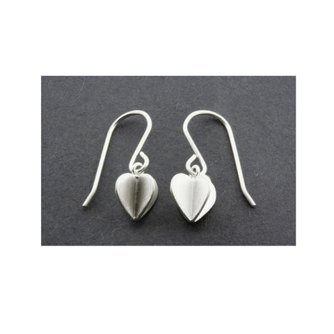 3D Heart Drop Silver Earrings
