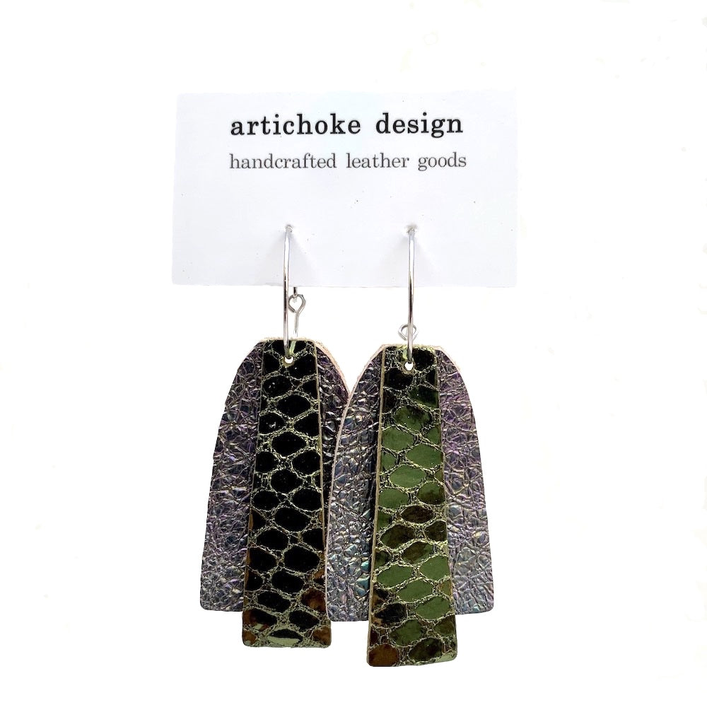 leather shimmer earrings