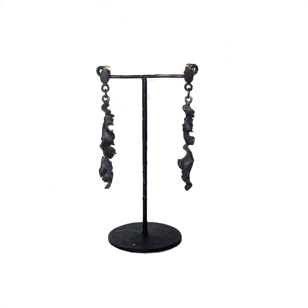 Oxidised Torn Silver earrings