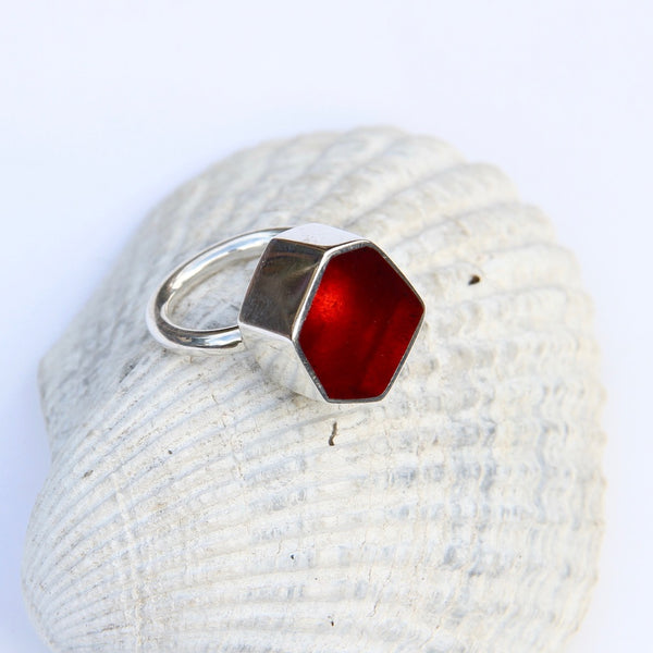 Orange Red Hexagon Ring