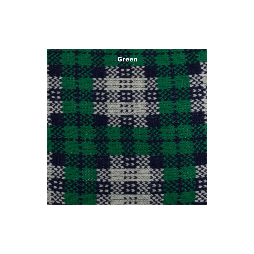 Green checkered wool picnic blanket with waterproof underlay