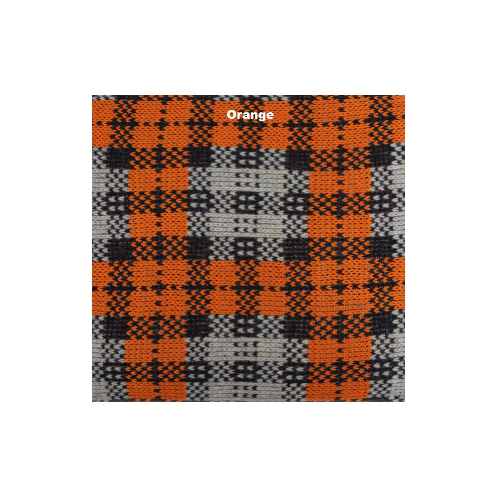 orange checkered wool picnic blanket with waterproof underlay