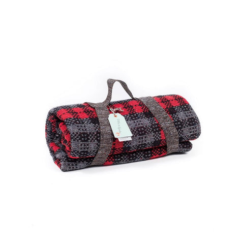 red wool picnic blanket with waterproof underlay