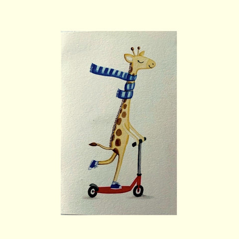 Card- Giraffe on Scooter