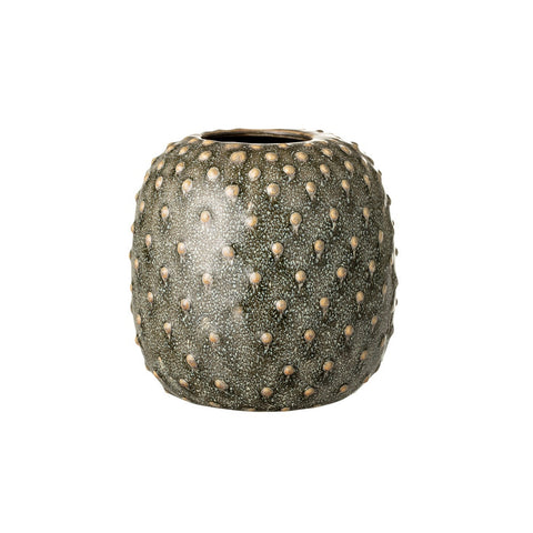 Green Structured Stoneware Vase