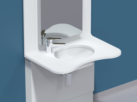 Mirror for high low height adjustable up down wash basin
