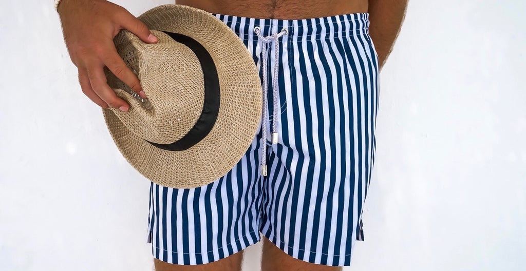 navy striped mens swim trunks kenny flowers
