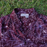 Kenny Flowers Shirt 4th Glass Maroon Bali Close Up