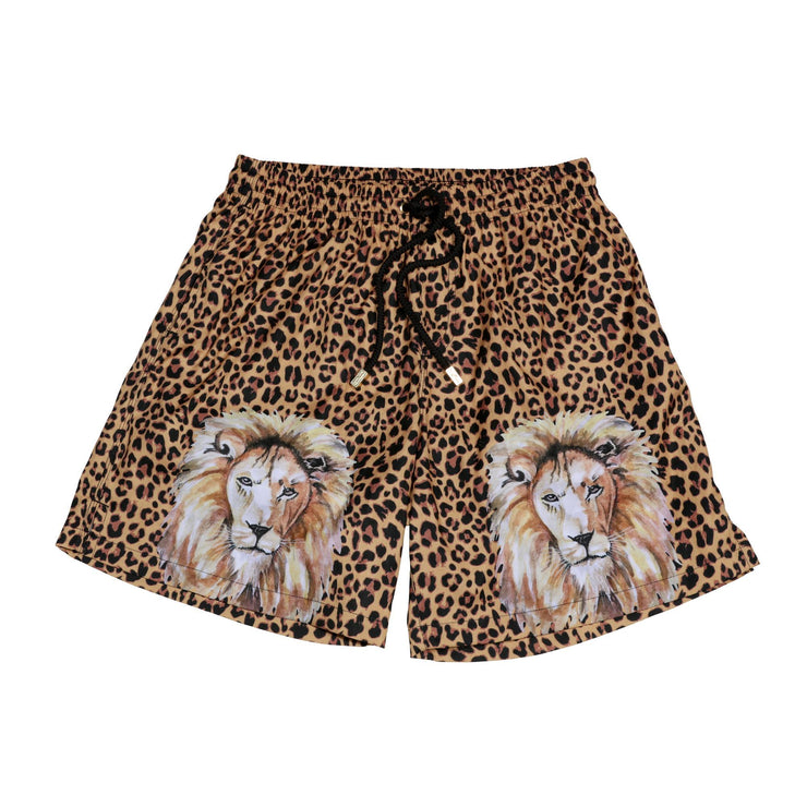 Animal print swim trunks with lion art by Kenny Flowers