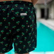 Back pocket detail shot of Kenny Flowers black palm tree swim trunks