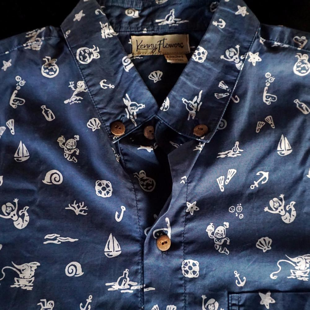 Kenny Flowers Shirt Fishy Business Blue Close Up