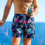 Navy floral mens swim trunks by Kenny Flowers