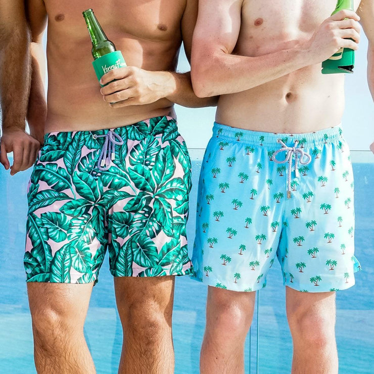 Palm print mens swim trunks by Kenny Flowers