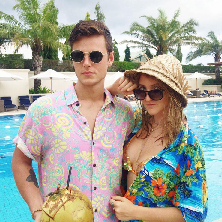 Kenny Flowers Shirt Funky Pink Bali Couple