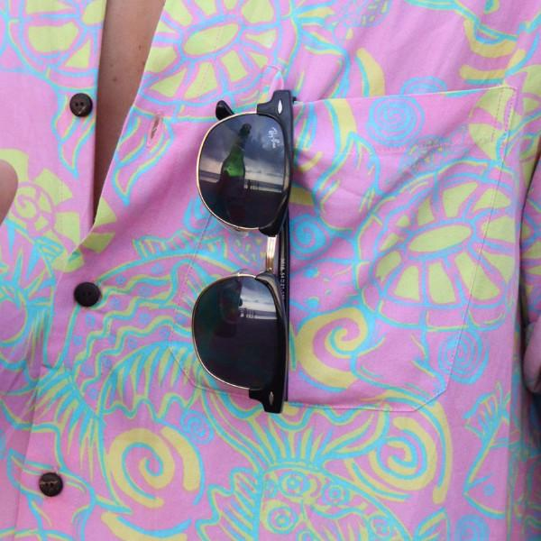 Kenny Flowers Shirt Funky Pink Front Pocket