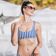 The Hamptons - Navy Striped Sporty Bikini Top