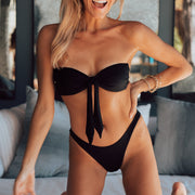 The Mykonos - Soft Eco-Luxe Black Tie-Front Bandeau Bikini Top
