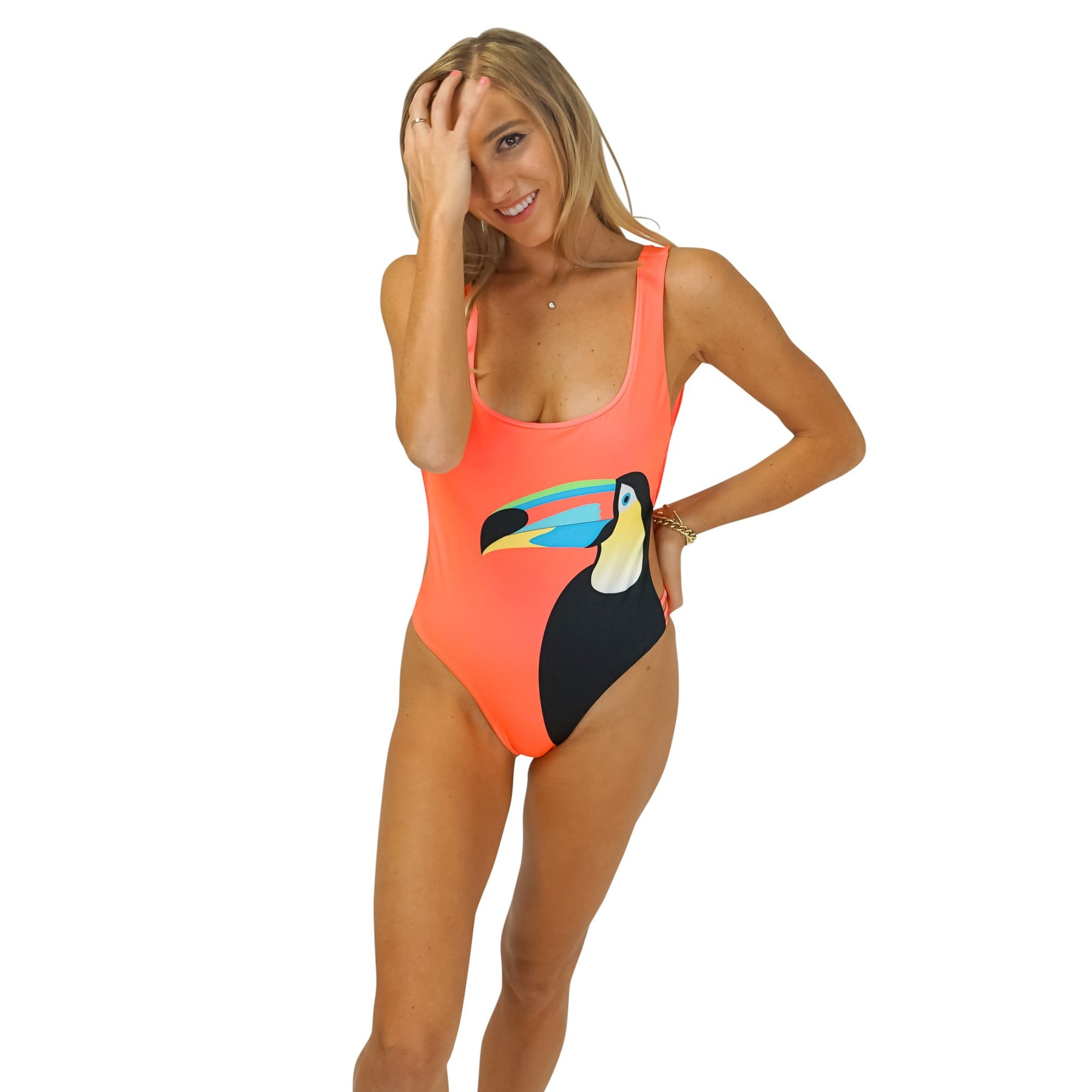 1d8449f14ddbb The Rio - Neon Coral Reversible One Piece Swimsuit – Kenny Flowers