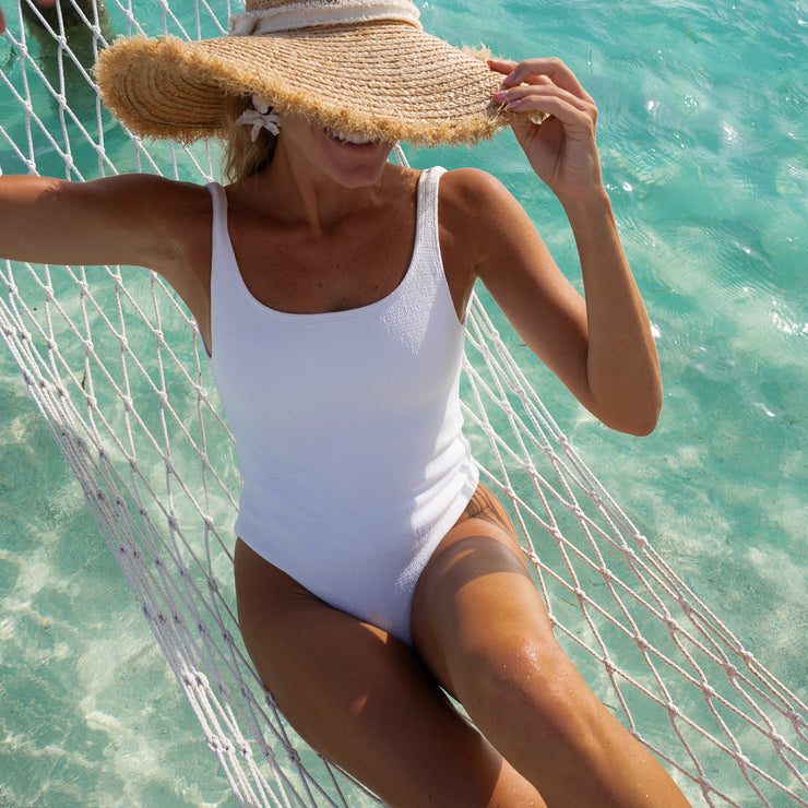 The Santorini - Textured White Closed One Piece by Watercolors Swim – Kenny Flowers