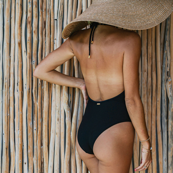 The Mykonos Soft Eco-Luxe Black Halter Deep V One Piece