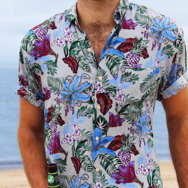 Kenny Flowers Shirt Leid Back Grey Close Up