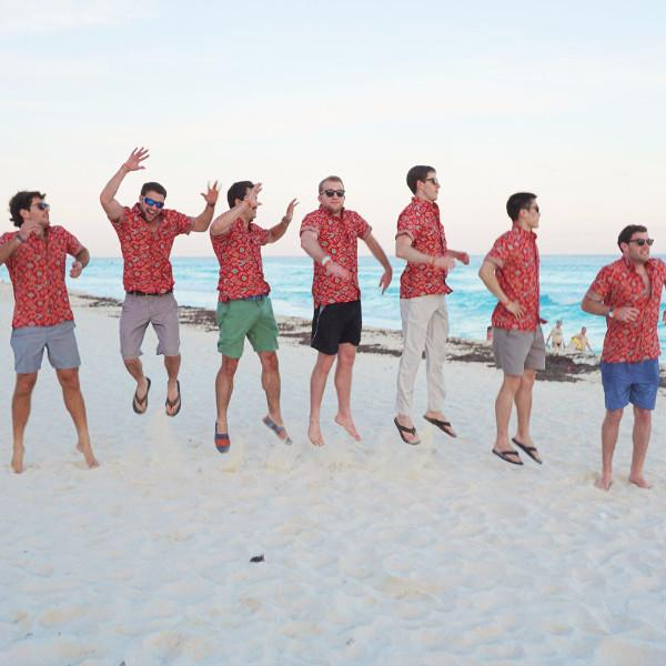 Kenny Flowers Shirt Macarena Red Bachelor Party Beach