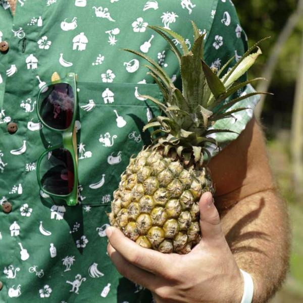 Kenny Flowers Shirt Monkey Business Green Close Up Pineapple